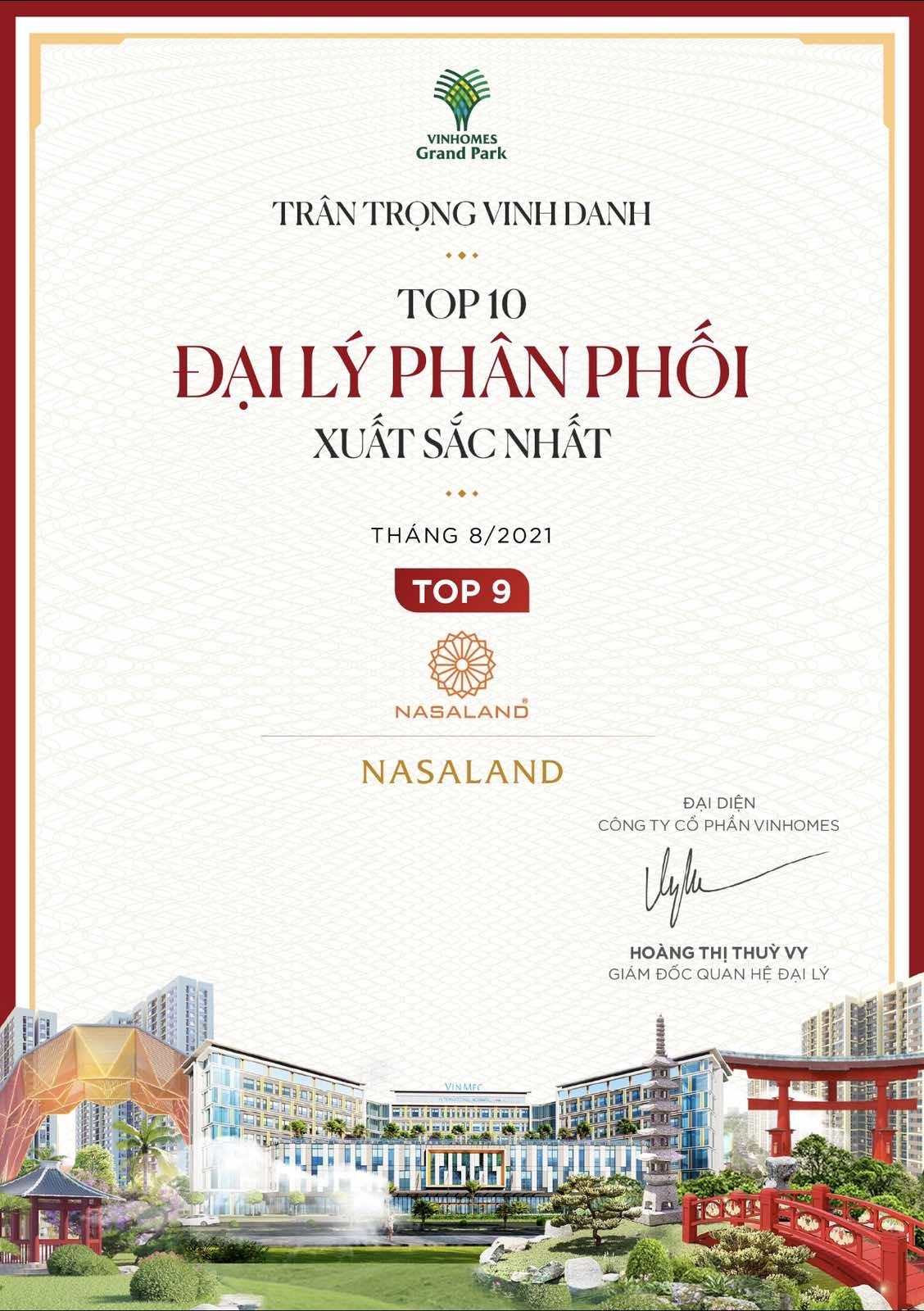 Nasaland đạt top 9 đại lý phân phối vinhomes