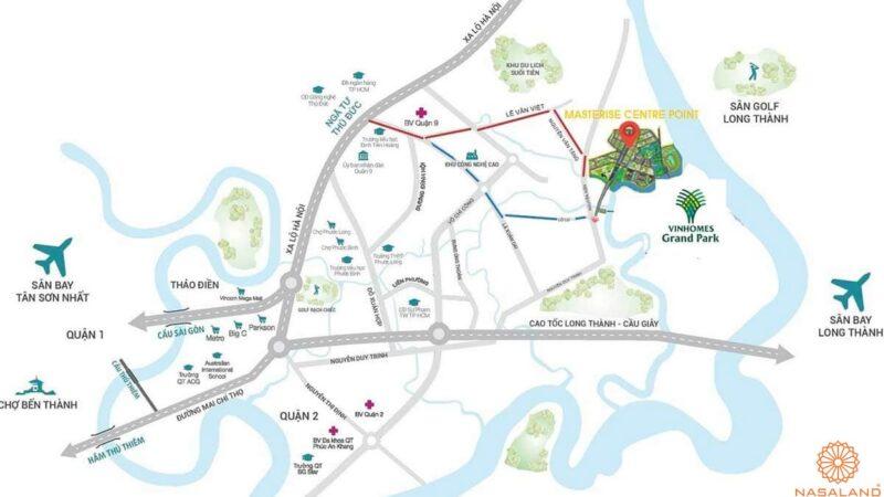 Vị trí Masteri Centre Point - Bản đồ khu vực